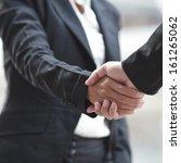 business woman giving a... | Shutterstock . vector #161265062