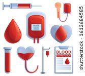 blood transfusion icons set.... | Shutterstock .eps vector #1612684585