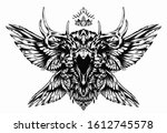 a black raven with horns and a... | Shutterstock .eps vector #1612745578