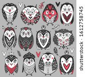 collection of cartoons owls and ... | Shutterstock .eps vector #1612758745