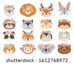 funny animals in flower wreaths.... | Shutterstock . vector #1612768972