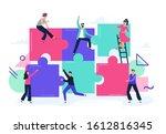 puzzle teamwork. people work...   Shutterstock . vector #1612816345