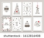hand drawn winter holidays... | Shutterstock . vector #1612816408