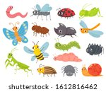 cute cartoon insects. funny... | Shutterstock . vector #1612816462