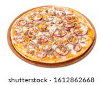 Mixed Pizza On Plate In White.