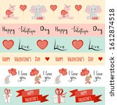 valentine's day set of tapes.... | Shutterstock .eps vector #1612874518