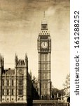 vintage view of london  big ben  | Shutterstock . vector #161288252