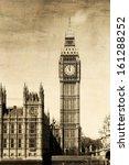 vintage view of london  big ben  | Shutterstock . vector #161288252