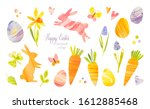 Easter Eggs And Green Leaves....