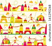 seamless pattern with houses... | Shutterstock . vector #161290268