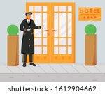 Doorman In Uniform Flat Vector...