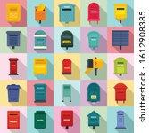 Mailbox Icons Set. Flat Set Of...