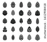 Pine Cone Icons Set. Simple Se...