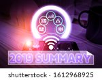 Small photo of Handwriting text 2019 Summary. Concept meaning brief comprehensive especially covering the main points of 2019 Picture photo system network scheme modern technology smart device.
