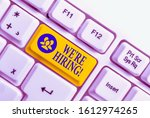 Small photo of Handwriting text We Re Hiring. Concept meaning recently employ someone or pay him to do particular job White pc keyboard with empty note paper above white background key copy space.