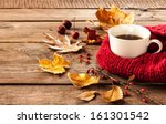 Hot Coffee And Autumn Leaves O...