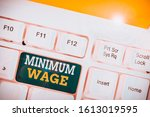 word writing text minimum wage. ... | Shutterstock . vector #1613019595