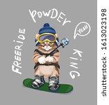 cute cartoon cat on snowboard... | Shutterstock .eps vector #1613023198