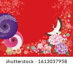 japanese gorgeous red flower...   Shutterstock .eps vector #1613037958