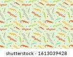 alligator seamless pattern....   Shutterstock .eps vector #1613039428