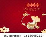 golden rat creative paper art ... | Shutterstock .eps vector #1613045212