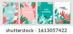 vector set floral background ... | Shutterstock .eps vector #1613057422