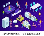 trendy isometric people at home ... | Shutterstock .eps vector #1613068165