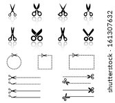 scissors icons   Shutterstock .eps vector #161307632