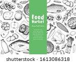 food sketch. vector... | Shutterstock .eps vector #1613086318