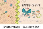 easter banner with text for... | Shutterstock .eps vector #1613095555