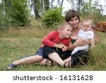 mother  children and dog...   Shutterstock . vector #16131628