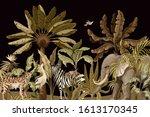 border with elephants  zebras...   Shutterstock .eps vector #1613170345