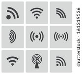 vector black wireless icons set | Shutterstock .eps vector #161319536