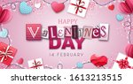 happy valentines day background ... | Shutterstock .eps vector #1613213515