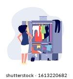 opened wardrobe. girl stand... | Shutterstock .eps vector #1613220682