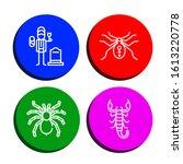 Set of arachnid icons. Such as Widower, Spider, Tarantula, Scorpion , arachnid icons