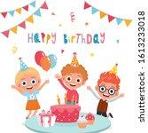 children having fun at birthday ... | Shutterstock .eps vector #1613233018