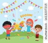 happy group of children have...   Shutterstock .eps vector #1613237215
