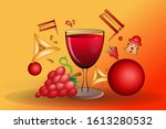 a glass of wine with haman ears ...   Shutterstock .eps vector #1613280532