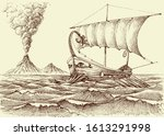 galley ship on sea hand drawing ... | Shutterstock .eps vector #1613291998