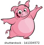 cartoon smiling pink pig... | Shutterstock . vector #161334572
