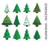 flat christmas tree set.... | Shutterstock .eps vector #1613410615