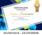 modern blue certificate of... | Shutterstock .eps vector #1613438668