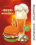 cheeseburger and beer. vector... | Shutterstock .eps vector #161349536