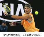 Small photo of MELBOURNE, AUSTRALIA - JANUARY 27, 2019: Seventeen times Grand Slam champion Rafael Nadal of Spain in action during his final match against Novak Djokovic at 2019 Australian Open in Melbourne Park