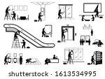 advertisement agency putting up ... | Shutterstock .eps vector #1613534995