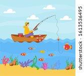 Cute Boy Fishing In A Boat Wit...