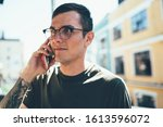 concentrated young cool male in ... | Shutterstock . vector #1613596072