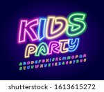 vector colorful sign kids party.... | Shutterstock .eps vector #1613615272