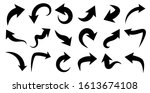 set of black curved arrows... | Shutterstock .eps vector #1613674108